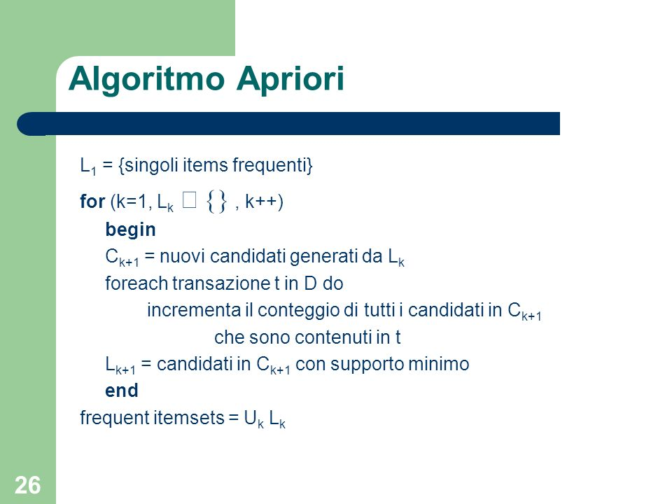Algoritmo Apriori L1 = {singoli items frequenti}