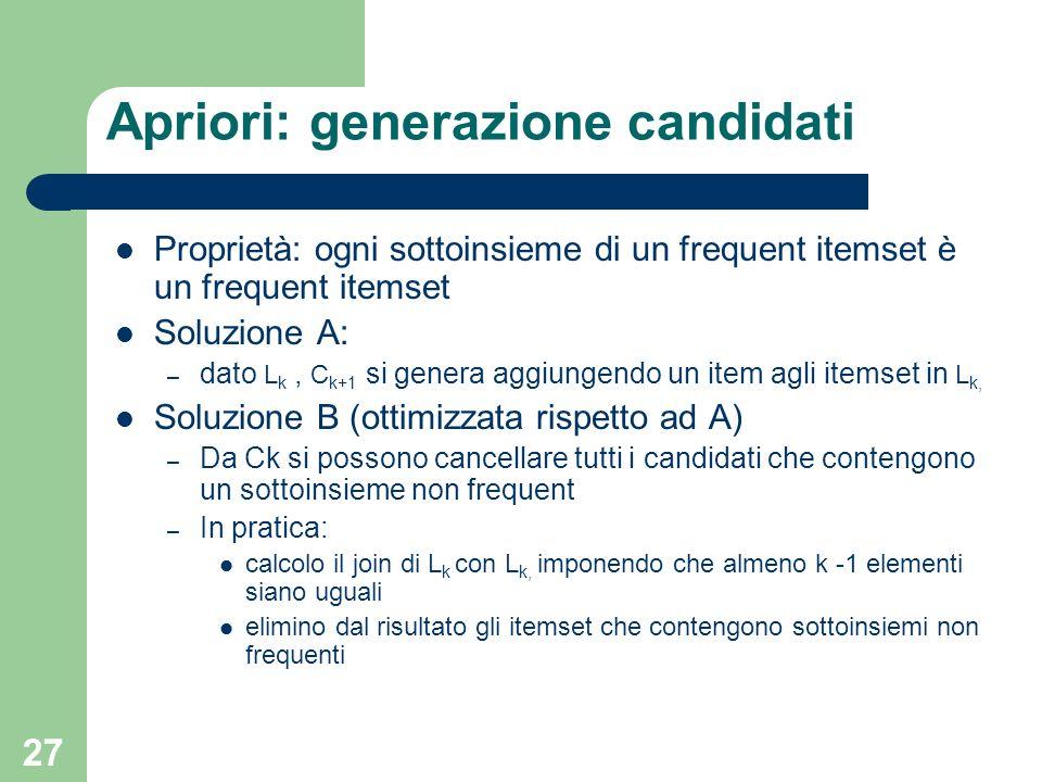 Apriori: generazione candidati