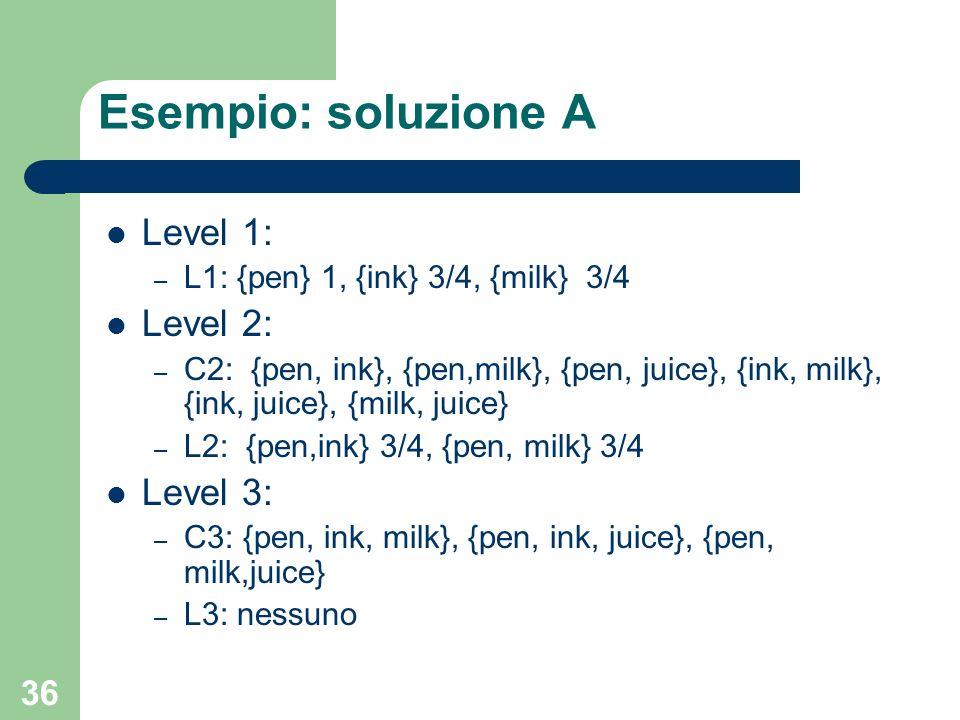 Esempio: soluzione A Level 1: Level 2: Level 3: