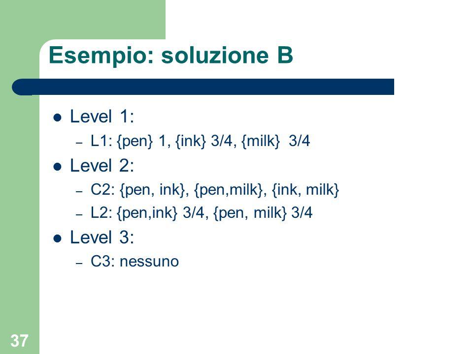 Esempio: soluzione B Level 1: Level 2: Level 3: