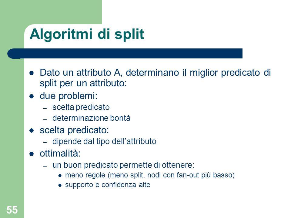 Algoritmi di splitDato un attributo A, determinano il miglior predicato di split per un attributo: due problemi: