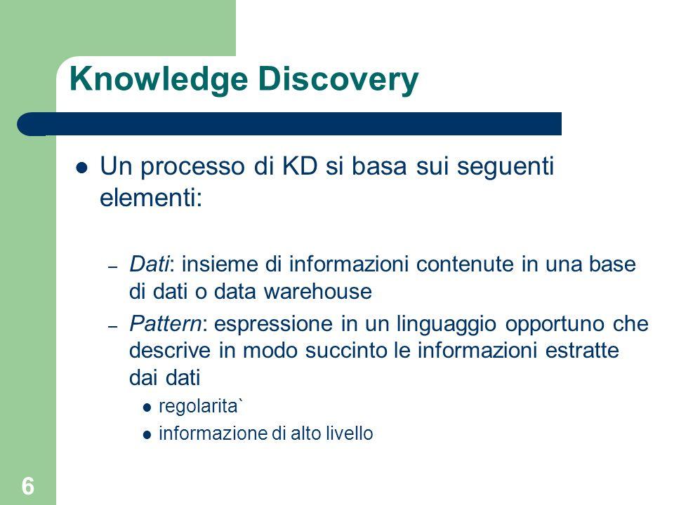 Knowledge Discovery Un processo di KD si basa sui seguenti elementi: