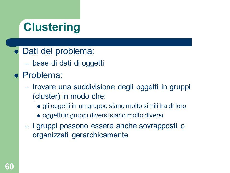 Clustering Dati del problema: Problema: base di dati di oggetti
