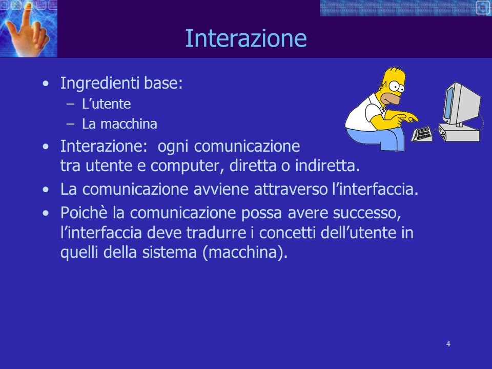 Interazione Ingredienti base: