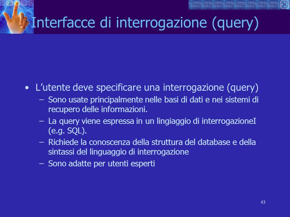 Interfacce di interrogazione (query)