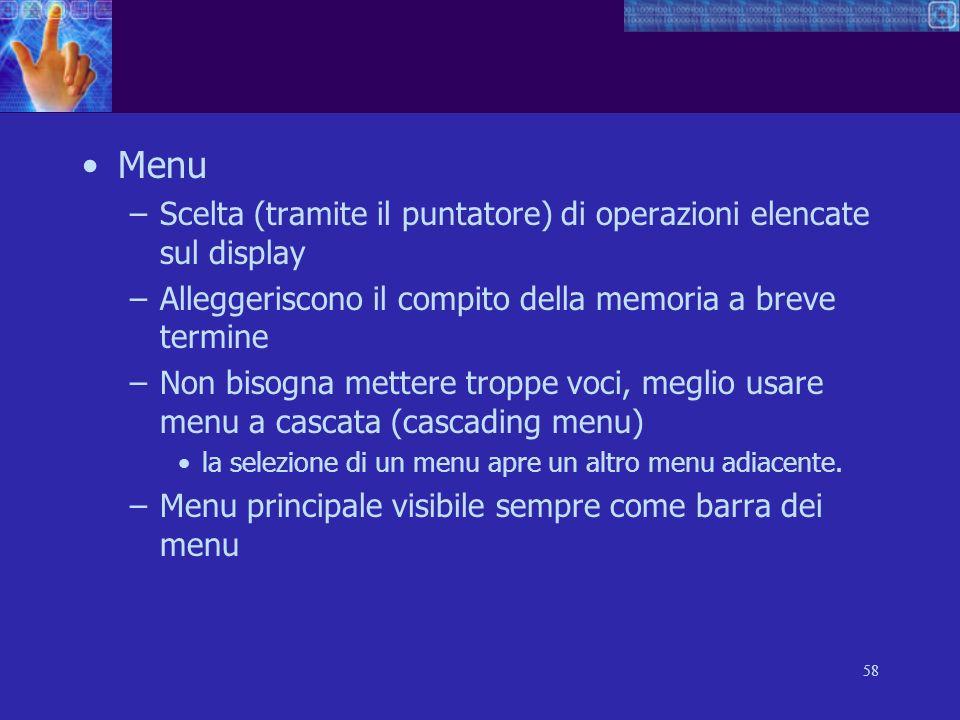 Menu Scelta (tramite il puntatore) di operazioni elencate sul display