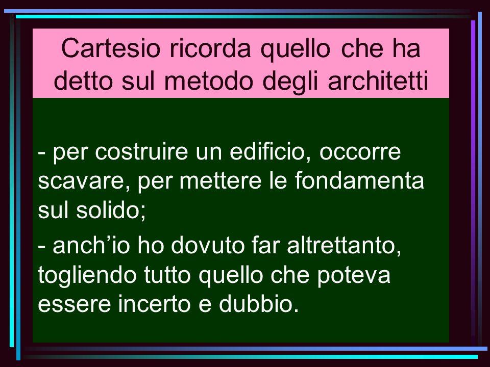 Cartesio ricorda quello che ha detto sul metodo degli architetti