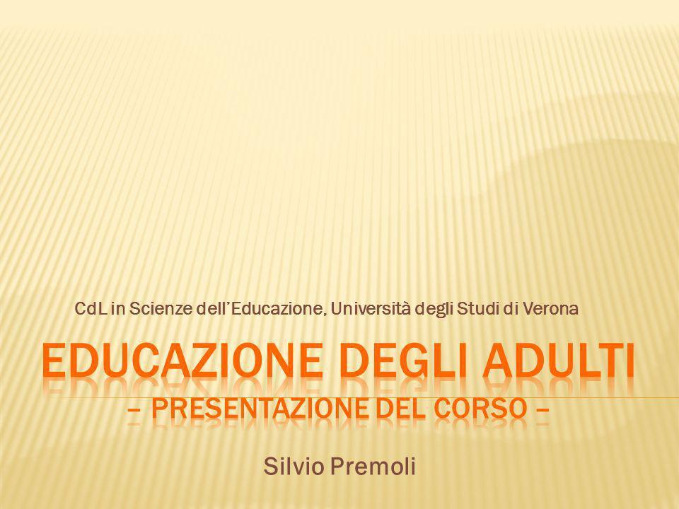 Educazione degli adulti – Presentazione del corso –