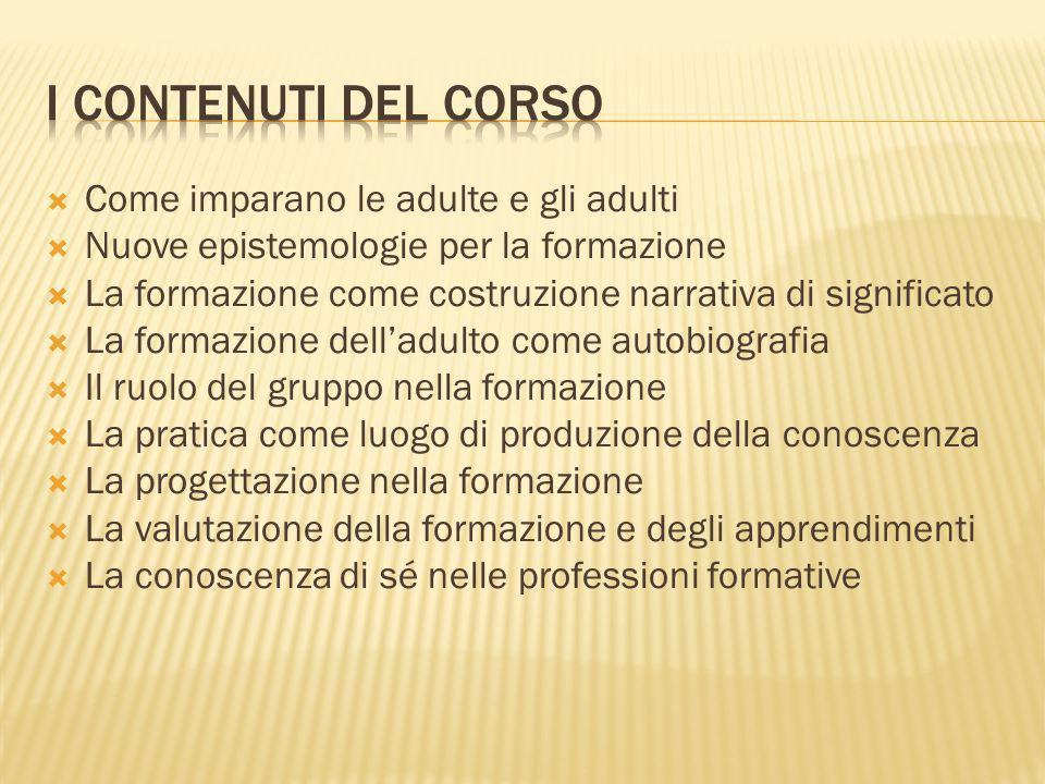 I contenuti del corso Come imparano le adulte e gli adulti