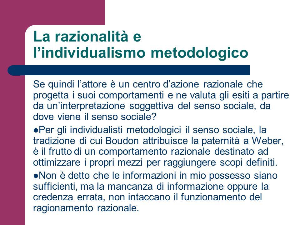 La razionalità e l'individualismo metodologico