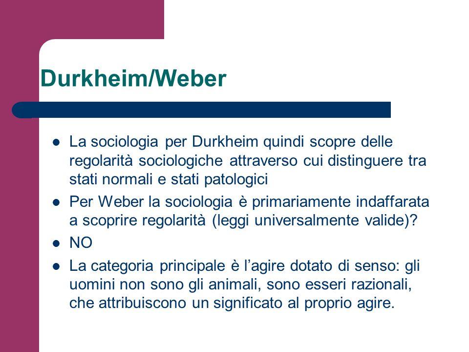 Durkheim/Weber La sociologia per Durkheim quindi scopre delle regolarità sociologiche attraverso cui distinguere tra stati normali e stati patologici.
