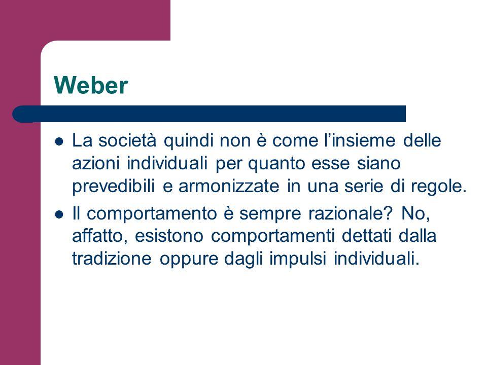Weber La società quindi non è come l'insieme delle azioni individuali per quanto esse siano prevedibili e armonizzate in una serie di regole.