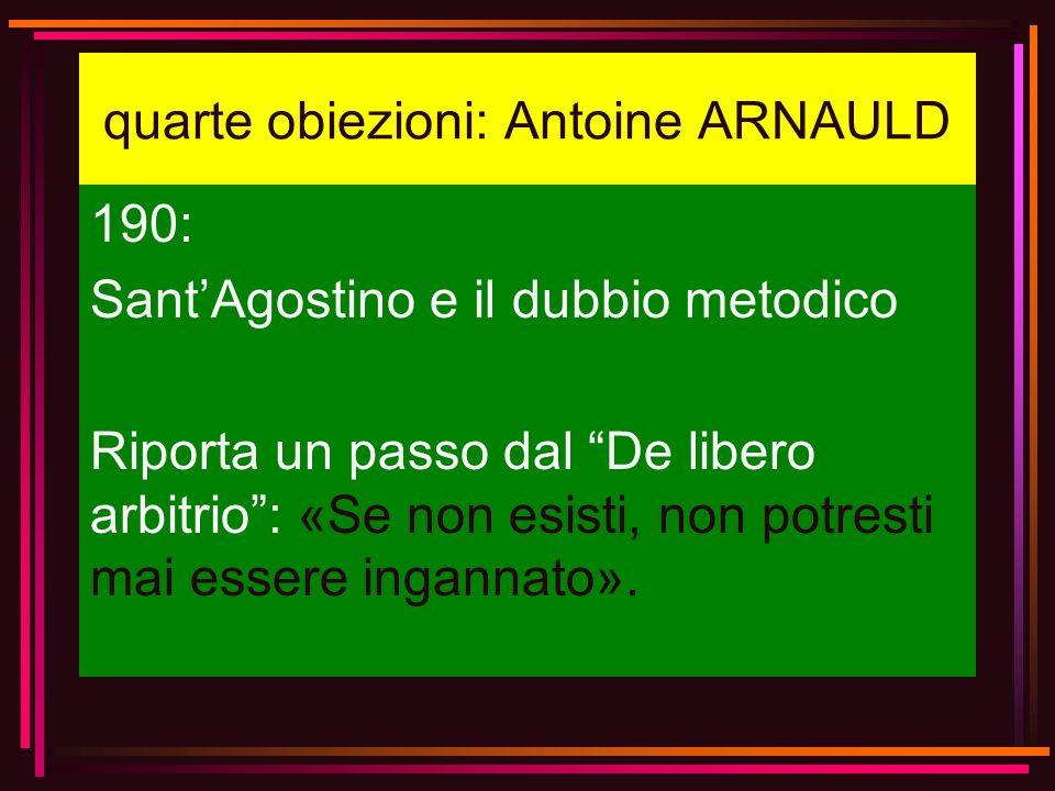 quarte obiezioni: Antoine ARNAULD
