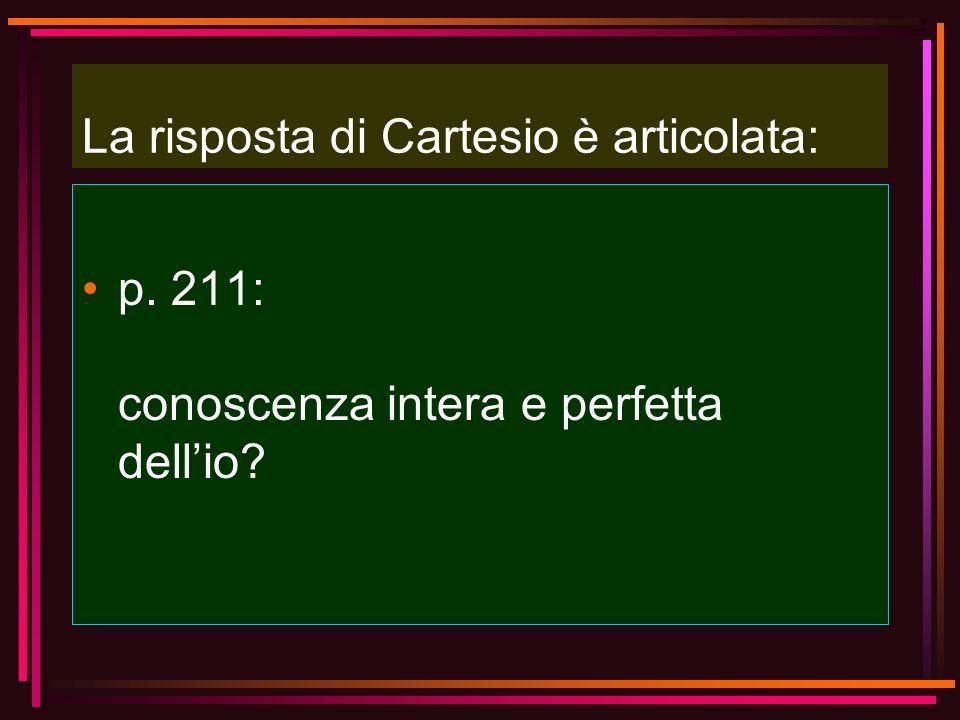 La risposta di Cartesio è articolata: