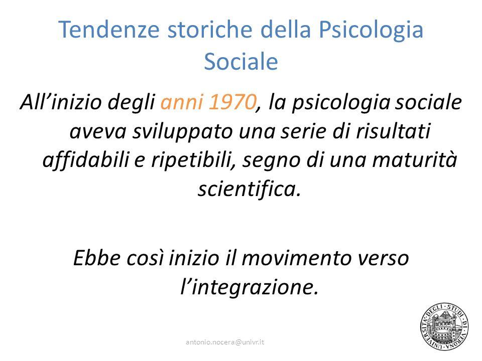 Tendenze storiche della Psicologia Sociale