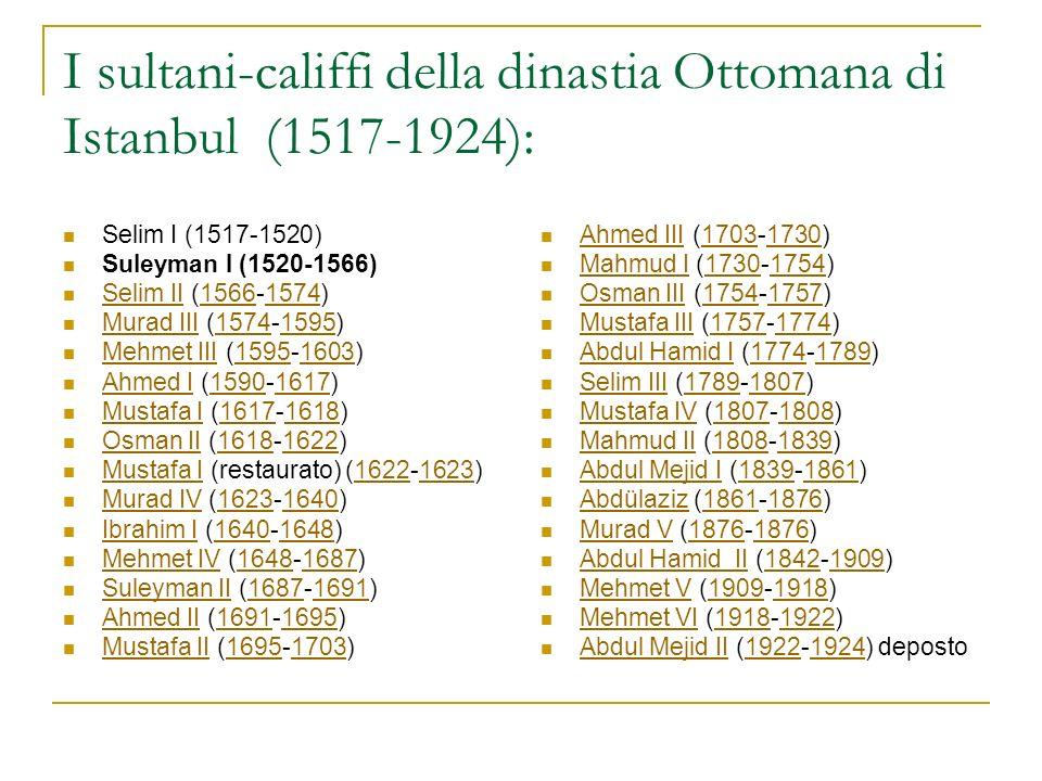 I sultani-califfi della dinastia Ottomana di Istanbul (1517-1924):