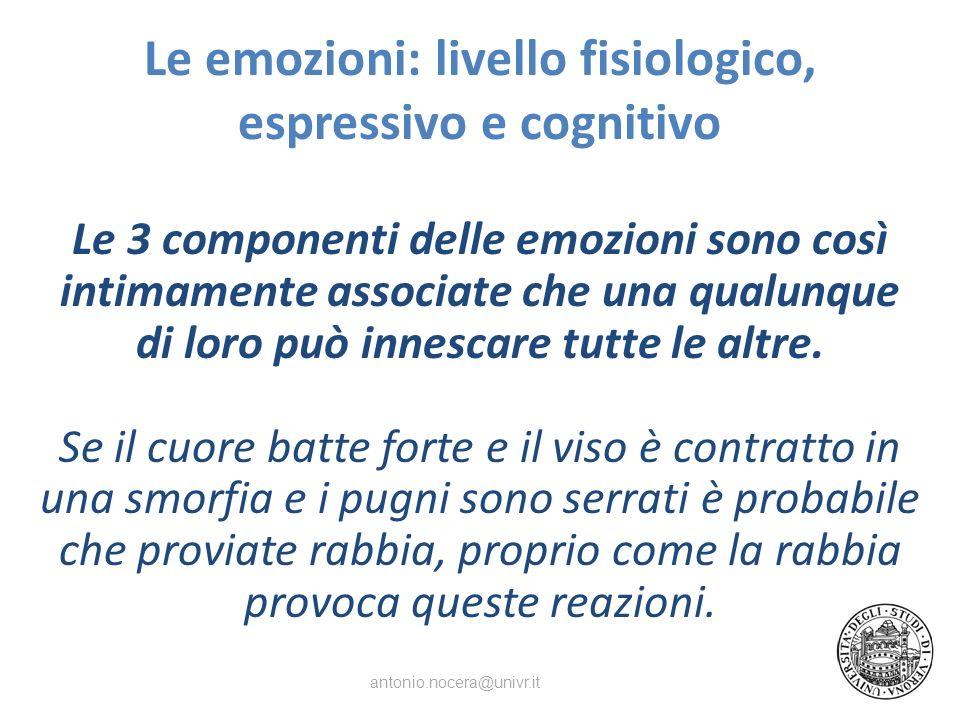 Le emozioni: livello fisiologico, espressivo e cognitivo