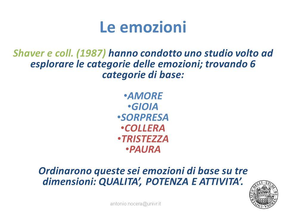 Le emozioni Shaver e coll. (1987) hanno condotto uno studio volto ad esplorare le categorie delle emozioni; trovando 6 categorie di base: