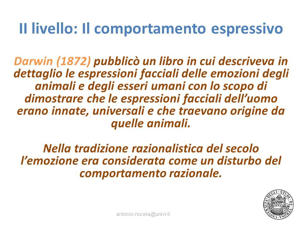 II livello: Il comportamento espressivo
