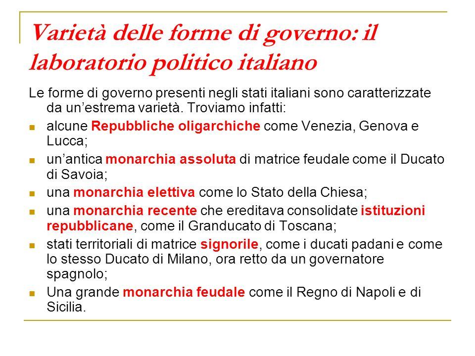 Varietà delle forme di governo: il laboratorio politico italiano