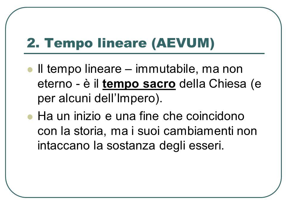 2. Tempo lineare (AEVUM) Il tempo lineare – immutabile, ma non eterno - è il tempo sacro della Chiesa (e per alcuni dell'Impero).