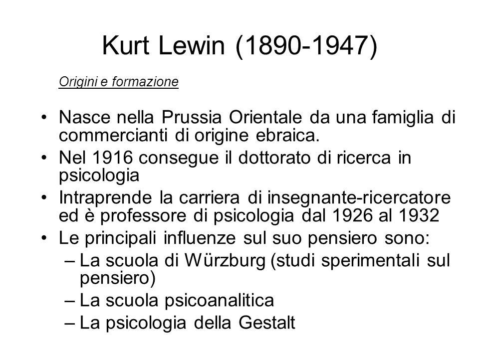 Kurt Lewin (1890-1947) Origini e formazione. Nasce nella Prussia Orientale da una famiglia di commercianti di origine ebraica.