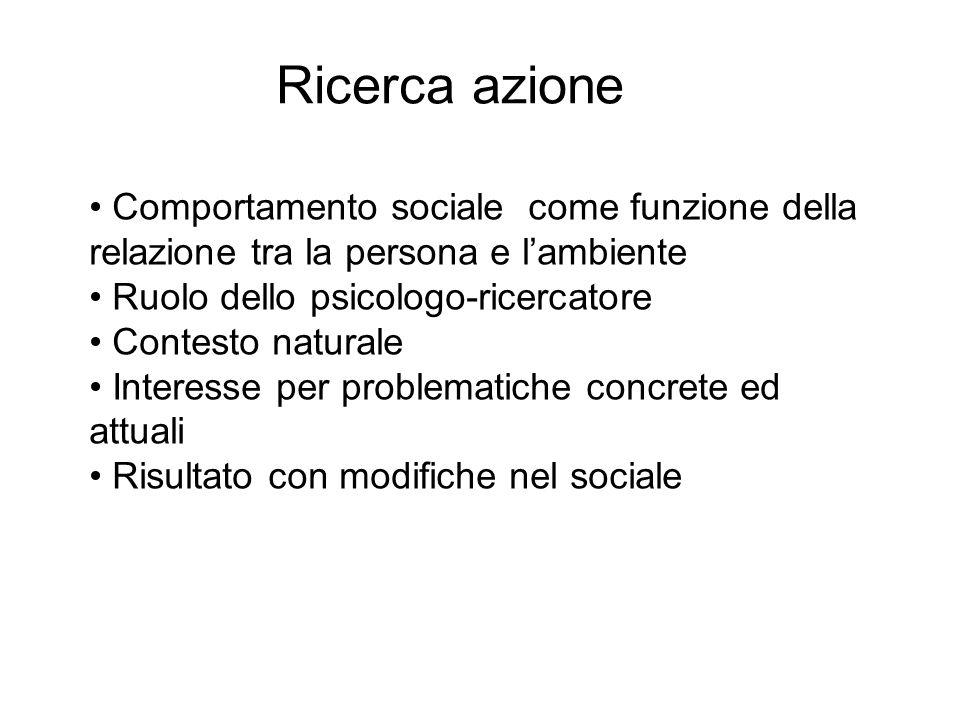 Ricerca azioneComportamento sociale come funzione della relazione tra la persona e l'ambiente. Ruolo dello psicologo-ricercatore.