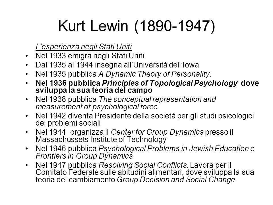 Kurt Lewin (1890-1947) L'esperienza negli Stati Uniti