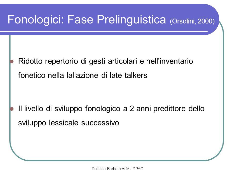 Fonologici: Fase Prelinguistica (Orsolini, 2000)