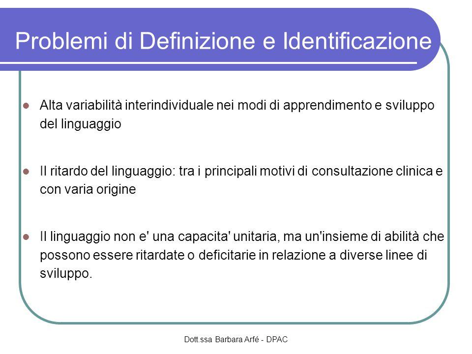 Problemi di Definizione e Identificazione