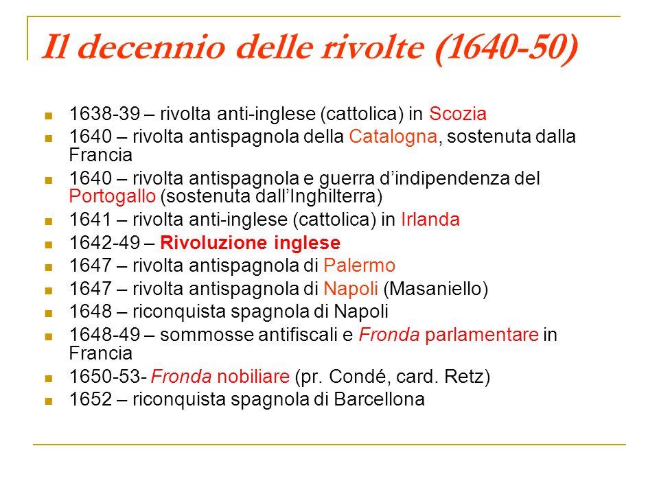Il decennio delle rivolte (1640-50)