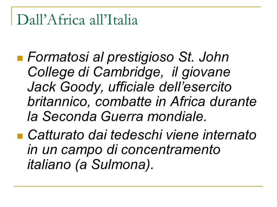 Dall'Africa all'Italia