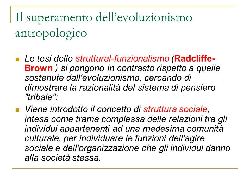 Il superamento dell'evoluzionismo antropologico
