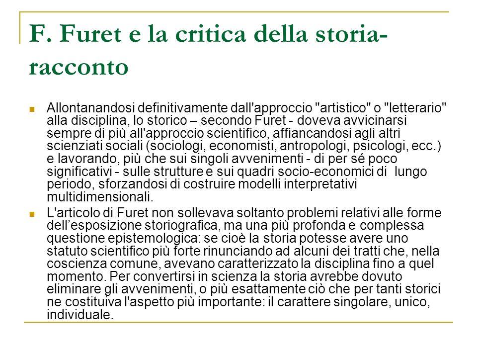 F. Furet e la critica della storia-racconto