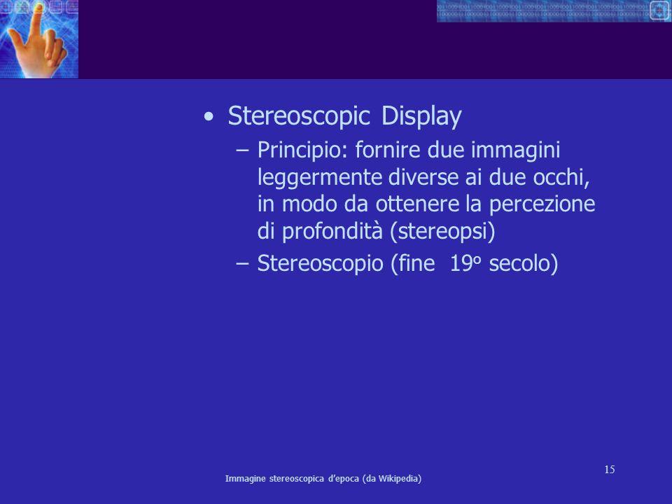 Stereoscopic Display Principio: fornire due immagini leggermente diverse ai due occhi, in modo da ottenere la percezione di profondità (stereopsi)