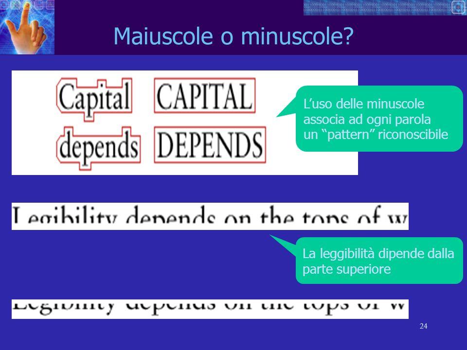 Maiuscole o minuscole L'uso delle minuscole associa ad ogni parola un pattern riconoscibile. La leggibilità dipende dalla.