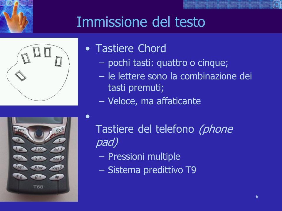 Immissione del testo Tastiere Chord Tastiere del telefono (phone pad)