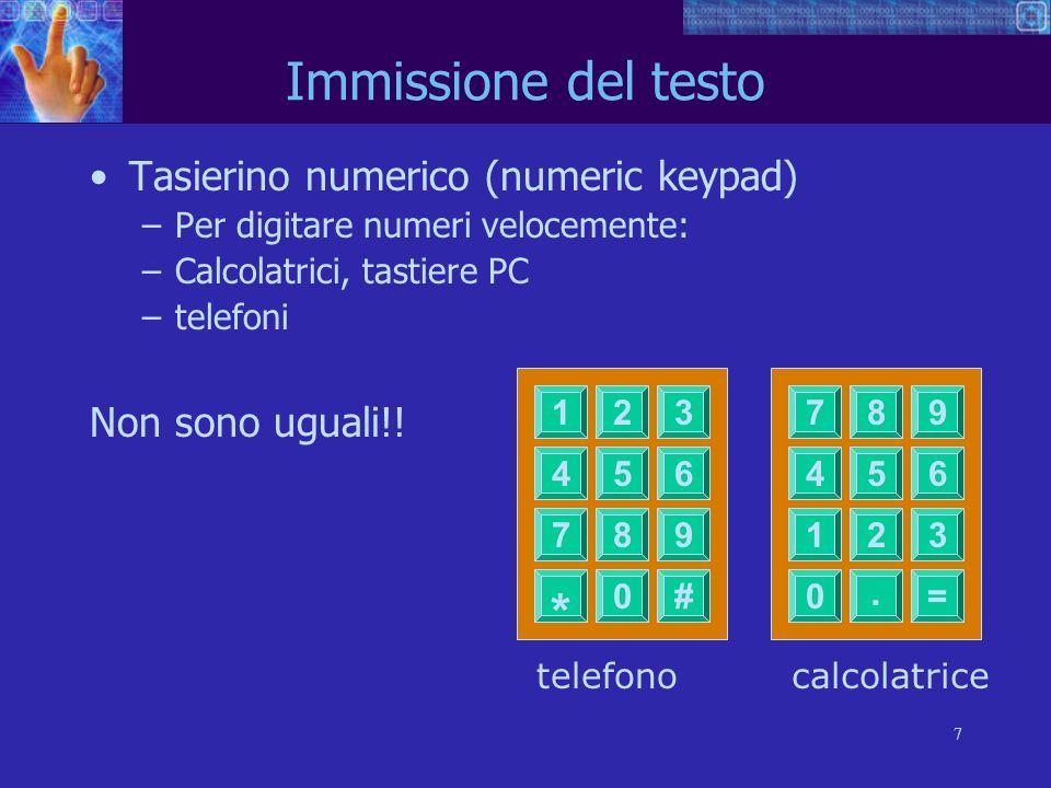 * . Immissione del testo Tasierino numerico (numeric keypad)