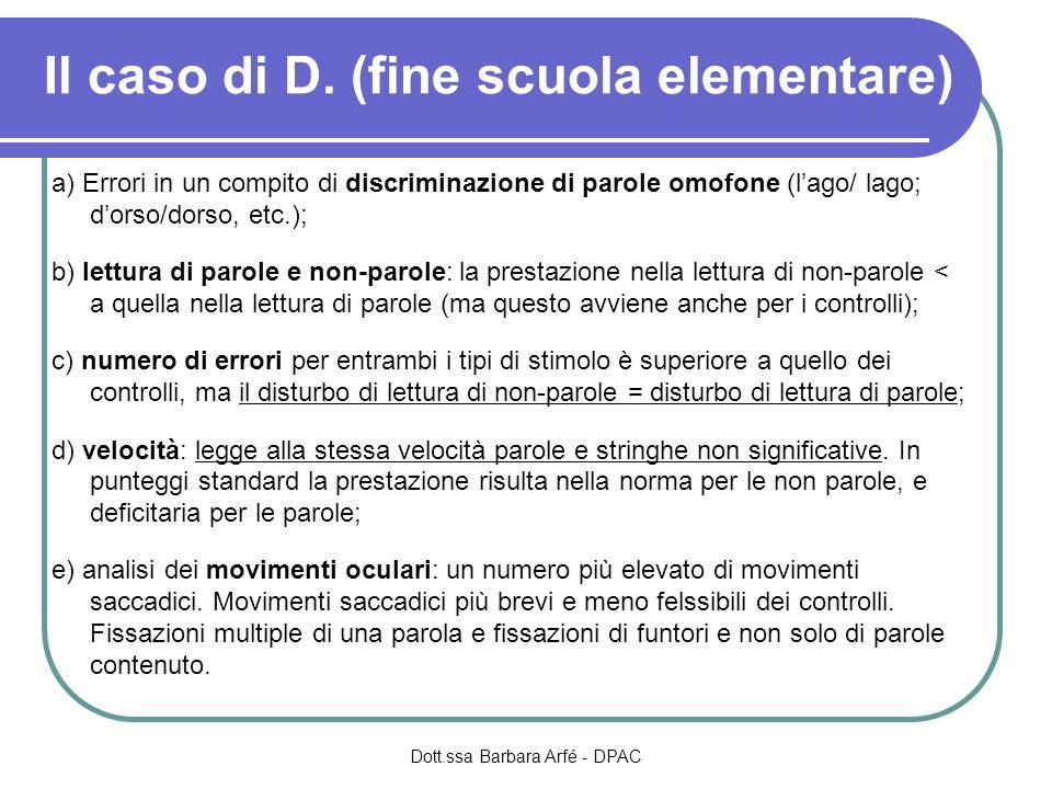 Il caso di D. (fine scuola elementare)