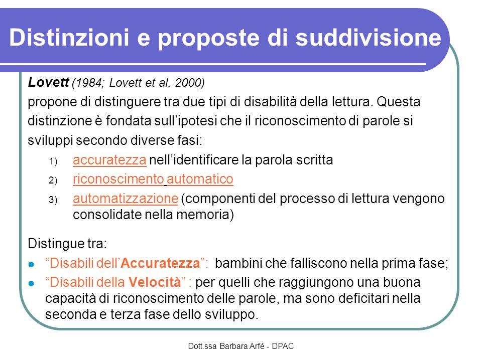 Distinzioni e proposte di suddivisione