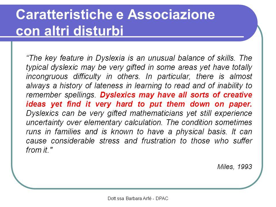 Caratteristiche e Associazione con altri disturbi