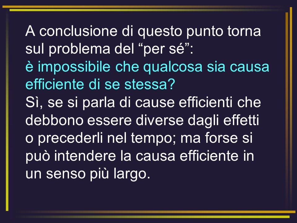 A conclusione di questo punto torna sul problema del per sé : è impossibile che qualcosa sia causa efficiente di se stessa.
