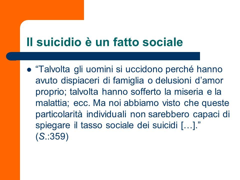 Il suicidio è un fatto sociale