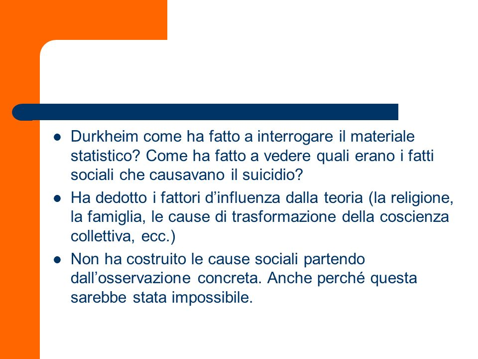 Durkheim come ha fatto a interrogare il materiale statistico