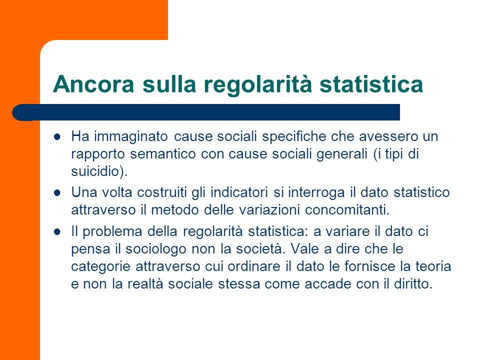 Ancora sulla regolarità statistica