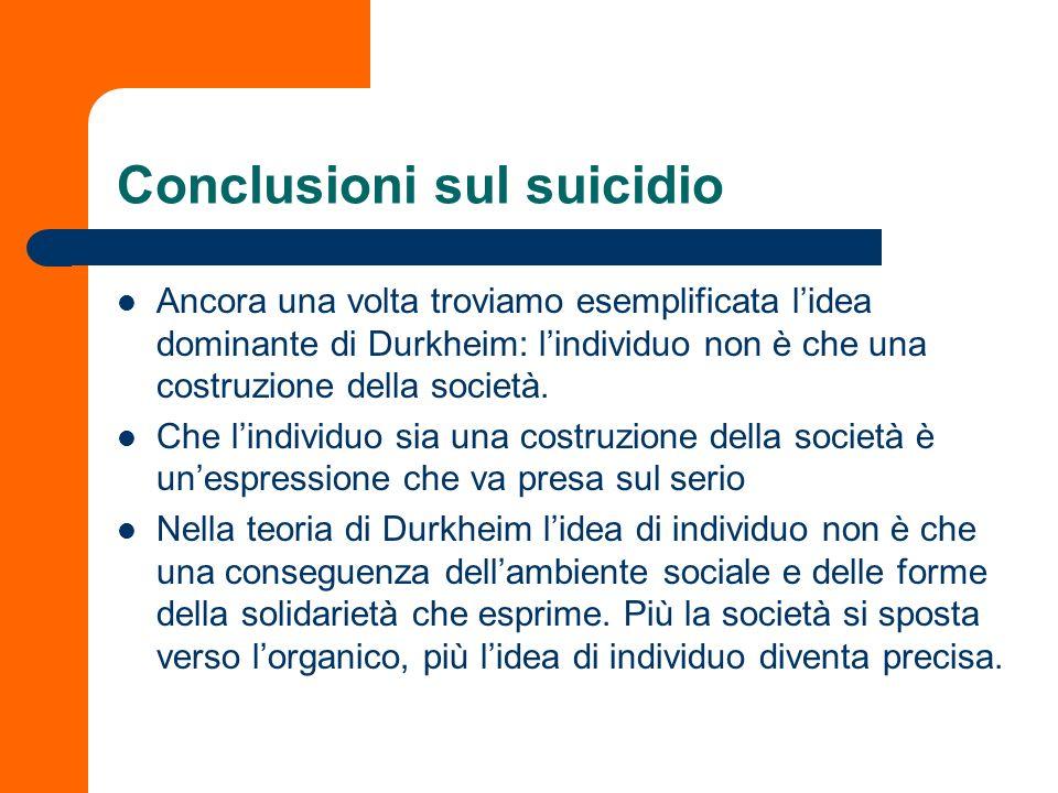 Conclusioni sul suicidio