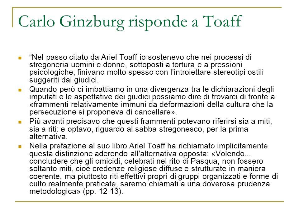 Carlo Ginzburg risponde a Toaff