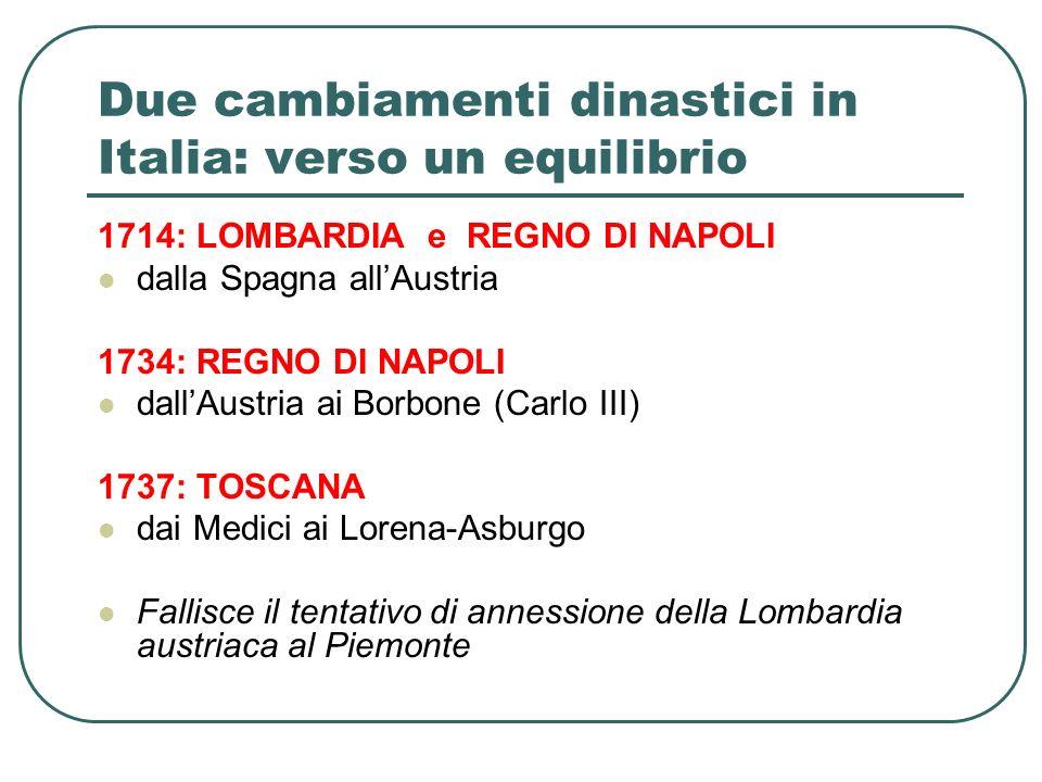 Due cambiamenti dinastici in Italia: verso un equilibrio