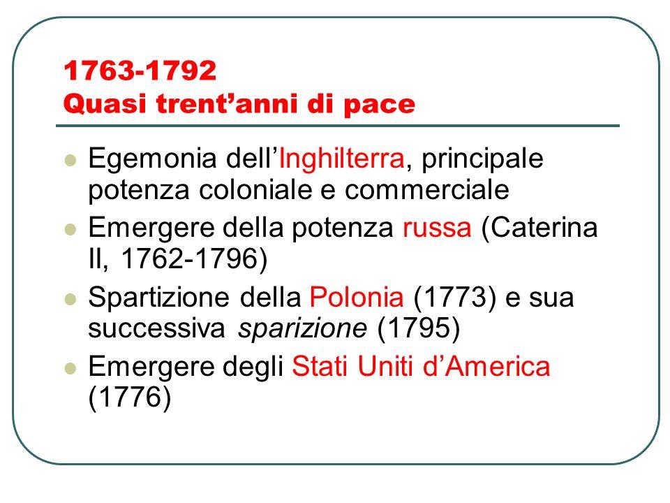 1763-1792 Quasi trent'anni di pace