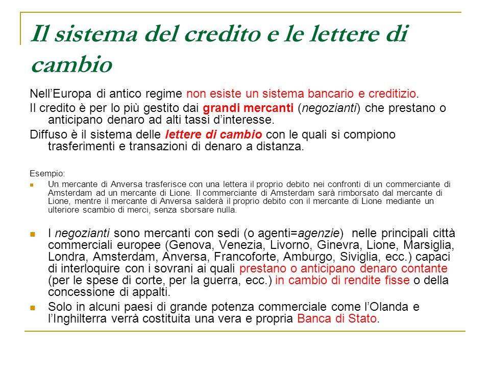 Il sistema del credito e le lettere di cambio